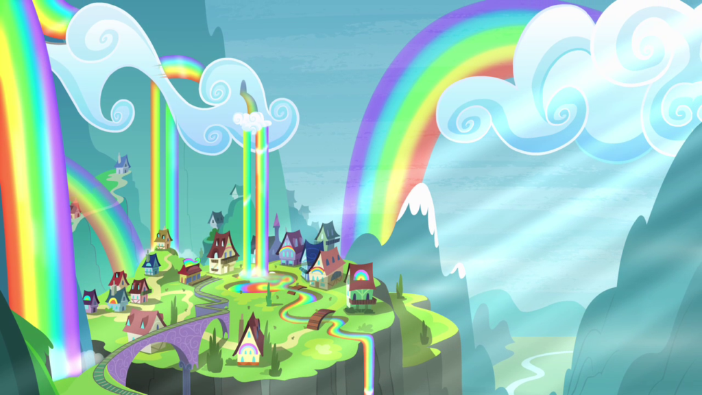 彩虹瀑布和小镇